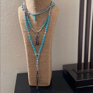 Shyanne Turquoise Silver Bead Necklace NWT